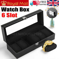 6 Grids Watch Display Case Jewelry Collection Storage Organizer Leather Box UK