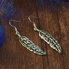 Fashion Boho Antique 925 Silver Feather Turquoise Bead Drop Dangle Hook Earrings