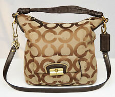 COACH KRISTIN TAN/BROWN OP ART CANVAS & LEATHER HOBO CROSSBODY HANDBAG #14911