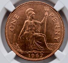 More details for 1967 elizabeth ii penny 1d ngc ms64 rd great britain britannia last pre-decimal