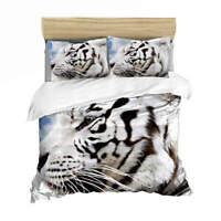 Great White Tiger 3D Quilt Duvet Doona Cover Set Single Double Queen King Print