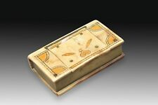Book shaped box. Horn or antler, metal. 19th century.