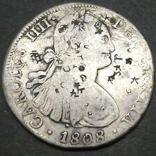 1808 RTH BOLIVIA Mo 8 Reales Silver Coin CAROLUS IIII Chop Marks