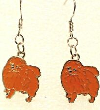 Tiny Earrings Pomeranian Dog Brown Dangle Silver Hook Handcrafted Jewelry