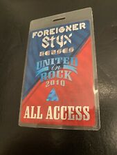 Foreigner Styx authentic All Access backstage pass 2010 United In Rock