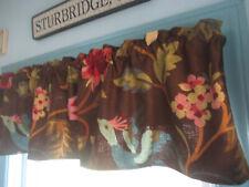 Handmade chocolate brown multicolor-floral bluebird 3-valances rod curtains