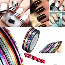 12 x Mixed Colors Rolls Striping Tape Line DIY Nail Art Tips Decoration Sticker