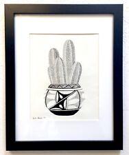 Mexican Fencepost - Framed Original Drawing - Cactus Desert Southwest Art