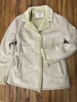 Talbots Womens Winter Coat Medium Tan Faux Suede and Fur Lined WARM