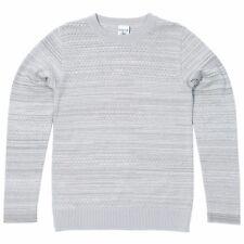 SNS Herning merino wool cotton grey melange trope sweater, size M
