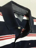 Tommy Hilfiger Men's Blue Red White Striped Polo Shirt Short Sleeves Classic L