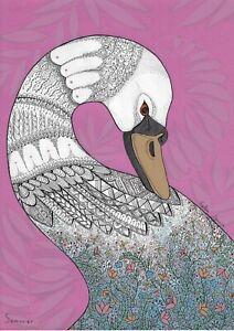 original drawing A3 26SO decorative Illustration Art Mixed Media animal Swan