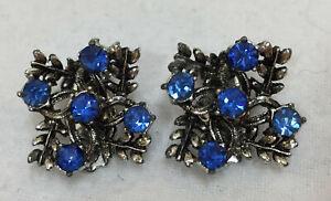 Clip On Earrings Blue Glass Rhinestones Snowflake Leaf Silver Tone Pair Vintage