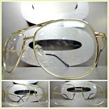 Men VINTAGE RETRO AVIATORS Style Clear Lens EYE GLASSES Small Gold Fashion Frame