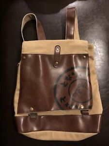 Japanese Canvas And Faux Leather Back Pack Bag Khaki And Brown