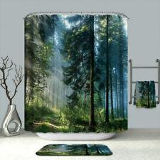 180 X 180cm Bathroom Shower Curtain Misty Forest Mildew Resisant+Hooks Decor