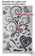 Beautiful Heart wall stickers with silver glitter and rhinestones-S014