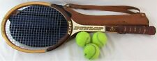 Vintage Dunlop Elite Wooden Tennis Racket With Fred Perry Bag And Three Balls