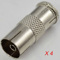 4 Pack F-type F Adapter Connector Male Plug to PAL TV Female Coaxial Convertor