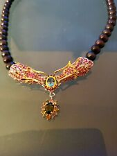 """Black Pearls SILVER 925 REAL STONES RUBY CHROME DIOPSIDE Dragon Necklace 20"""""""