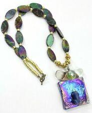 "Vintage ""Frog"" Glass Pendant Handmade 22"" Necklace"