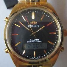 ORIENT MEN'S WATCH ALARM QUARTZ ALL S/S GOLD ORIGINAL JAPAN LGX00001B0 NEW