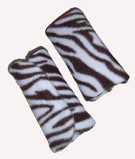 Baby Brown Zebra Fleece Car Seat Pram Highchair Harness Cover Belt Pads X 2