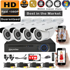 Eyedea 8 CH DVR 1080P 2.0MP Outdoor Night Vision CCTV Security Camera System 1TB