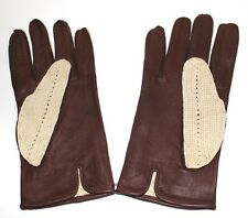 Sleep's England vintage leather and woven men's gloves 10.5
