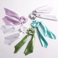 Elastic Bohemian Solid Streamers Hair Scarf Bow Hair Ties Rubber Rope Scrunchies