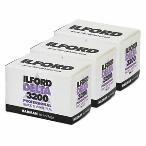 3x Ilford Delta 3200 Professional 35mm Black & White Film (36 exposure)