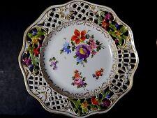 Vintage Dresden Reticulated Carl Thieme Flower Plate Bailey Banks & Biddle 6 1/4