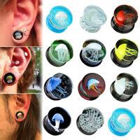 Pair Jellyfish Flesh Tunnels Glass Saddle Ear Plugs Ring Gauges Earring Piercing