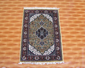 Oriental Hand Knotted Living Room Rugs Floor Mat Silk Carpet 2x3 Gold Colour