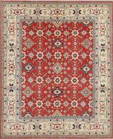 New Geometric Chechen-Kazak Red Ivory Oriental Area Rug 8x10 Hand-Spun Wool
