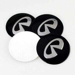 4pcs 55 / 65mm Black Car Wheel Center Hub Caps Emblem Badge Sticker For Infiniti