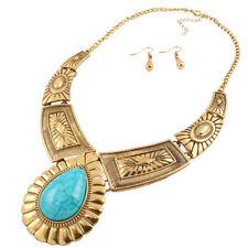 Fashion Women Natural  Tibet Silver Turquoise Pendant Necklace Earrings Set