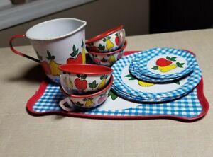 Vintage OHIO ART Childs Assorted 14-Piece Tin Tea Set Fruit and Gingham plates
