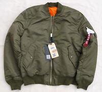 ALPHA INDUSTRIES MA1 Slim Flight Jacket Bomber Reversible Vintage Olive Mens 2XL