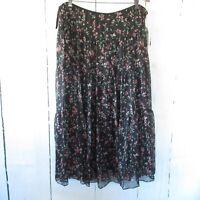 New $145 Ralph Lauren Woman Maxi Skirt 16W Black Floral Tier Prairie Plus Size