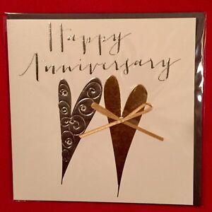Wedding Anniversary Card Stylish Special 'Happy Anniversary' V Beautiful Hearts