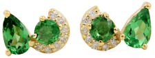 0.65 ct Tsavorite Gemstone 0.07 ct Diamond 8x6 MM 14K 18K Solid Gold Earrings