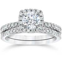 5/8Ct Cushion Halo Real Diamond Engagement Wedding Ring Set White Gold