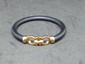 Salvatore Ferragamo Black And Gold Bracelet