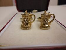 Vintage Novelty Cufflinks Gold Tone Tankards Retro