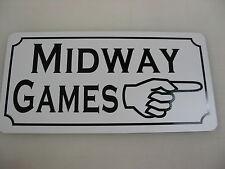 MIDWAY GAMES w Arrow Tin Sign Game Room Carnival Fair Boardwalk Amusement Park