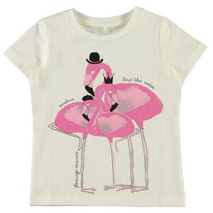NAME IT Mädchen T Shirt kurzarm Flamingo Print mit Glitzer Baby Klein Kinder Top