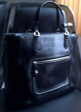 COACH Poppy Textured Shiny Patent Leather Satchel Handbag Purse 25042 Black $348