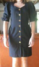 ESCADA Vintage fin 80'- Robe tailleur à manches ballon- 100% laine- noire- 40