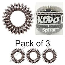 Invisible Hair Spiral Bobble Band Kodo 3 Pack No Pain Damage or Tangles. BROWN